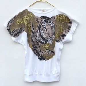 Vintage 90s NY Tiger Cat Graphic Glitter Tee